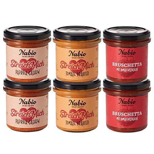 Nabio Brot-Aufstrich 6er Box CLASSIC Selection: ( 2x140 g Bruschetta mit Tomatenstücken , 2x 130 g StreichMich Paprika Cashew, 2x StreichMich Tomate Kräuter (800 g)