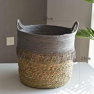 Nordic Straw Storage Basket Rattan Floor Flower Pot Crafts Decoration Modern Home Living Room Bedroom Shop Flower Basket Hanging (Color : E)