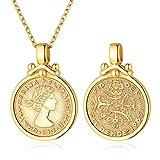 ChicSilver Moneda Redonda Letras Imagenes Grabados Oro Amarillo 18K Plata 925 Famosa Reina Elizabeth Isabel Inglaterra Collar Fina Elegante