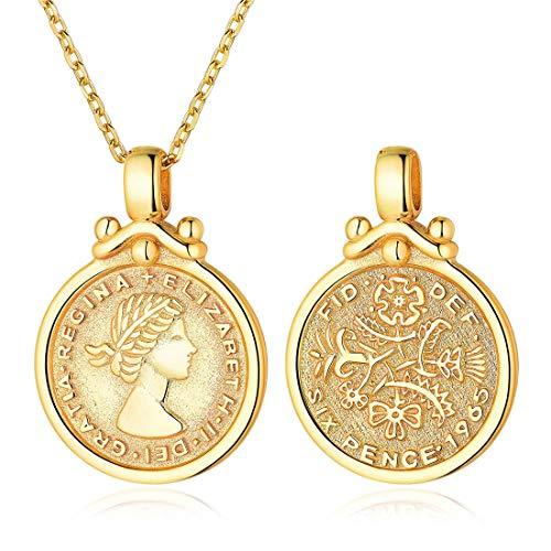 ChicSilver Queen Elizabeth Sixpence Halskette 18K Gold plattiert Münze Disc Anhänger mit Kette Minimal Medaillon Schmuck böhmischen…