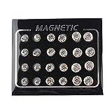 POFET - 12 paia di orecchini a perno con cristalli magnetici, 4 mm, 6 mm, 7 mm