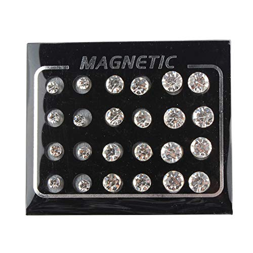 POFET 12 Paar Crystal Studs Magnete Ohrringe Kein Piercing Ohrstecker 4mm 6mm 7mm