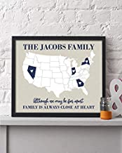 Any 4 States Family Map Print | Personalized Grandparent Sign | Long Distance Gift | Two State Map | Grandparent Gift | Grandparent Poster | Going Away Gift | Grandparent Gift | Mothers Day Gift