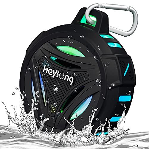 Heysong Bluetooth Lautsprecher, Musikbox Tragbarer LED Licht Kabelloser Box mit IPX7 Wasserschutz, Dualen Bass-Treibern, 36H Akku, BT 5.0, True Wireless Stereo Speaker für Outdoor, Auto, Party, Dusche