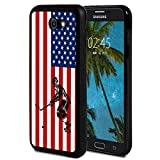 Galaxy J3 2017 Case,Silhouettes of Ice Hockey Player USA Flag Pattern Anti-Scratch Shock Proof Black TPU and PC Protection Case Cover for Samsung Galaxy J3 Prime/J3 2017/J3 Emerge