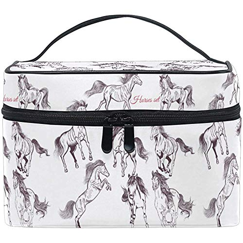 Trousse de maquillage Art Horse Travel Cosmetic Bags Organizer Train Case Toiletry Make Up Pouch