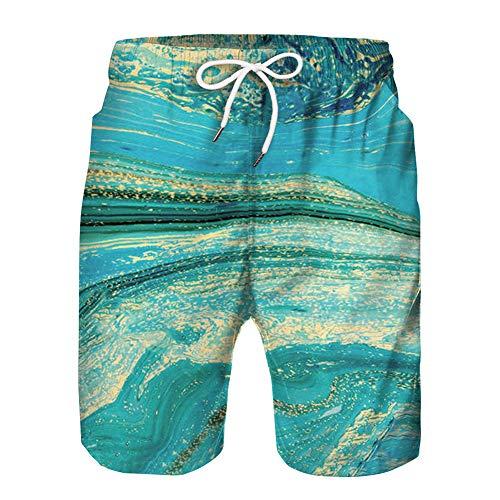 Heren jongens zwembroek Grappige 3D-print Zwemmen Sneldrogende shorts Zomer Casual trekkoord Elastische taille Strand Surfshorts,H,M