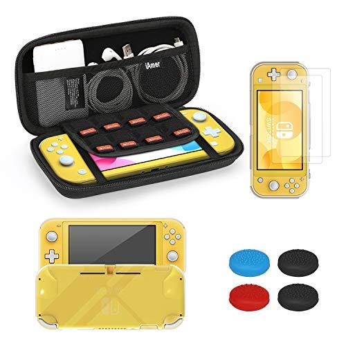 iAmer Funda para Nintendo Switch Lite,5 en 1 Kit de Accesorios para Nintendo Switch Lite,TPU Carcasa,Vidrio Templado Protector de Pantalla para Nintendo Switch Lite (2 Piezas),4 Thumbsticks