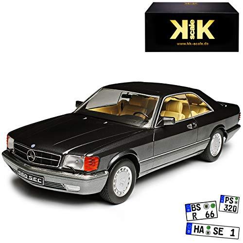 KK-Scale Mercedes-Benz 560 SEC S-Klasse W126 Antharzit Grau Schwarz 1979-1991 1/18 Modell Auto