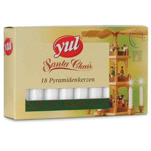 YUL 180 (10 x 18) Pyramidenkerzen 74 x 14 mm Weiss Weiß, Kerzen für Weihnachtspyramiden