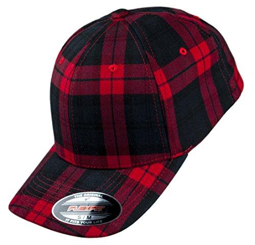 Flexfit Cap Tartan Plaid HAT Black red, L/XL