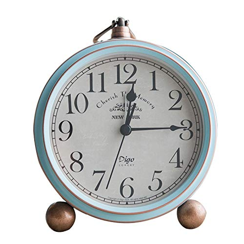hehuanxiao Reloj Retro Mediterranean Mute Wecker of Home Bedroom Decoration Pointer Electronic Clock Simple Nordic Alarm Clock of Children Beside