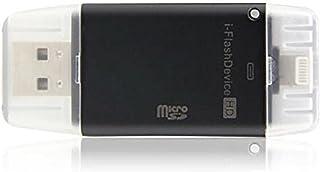 Tenlacum Mini i-Flash Drive USB HD/TF lector de tarjetas para el iPhoneX 8 7 7Plus 6s 6s Plus 6 6plus 5s 5 iPad I-flash USB STICK TF Micro SD LECTOR DE MEMORIAS (negro)