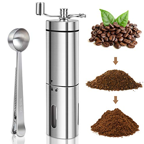 Manual Coffee Grinder with Adjustable Setting, KUOAS Conical Burr Mill & Brushed Stainless Steel Whole Bean Burr Hand Coffee Grinder with Spoon for Aeropress, Drip Coffee, Espresso, French Press, Turkish Brew