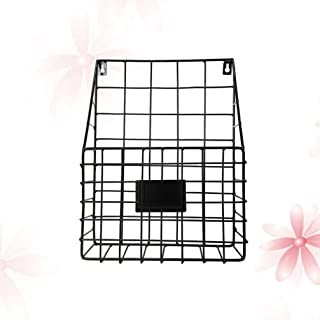TOPBATHY 1PC Metal Basket Wall-Mounted File Magazine Book Newspaper Holder Display Stand Storage Container Rack