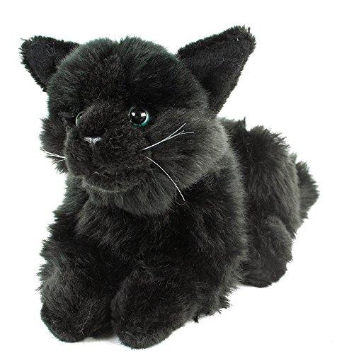 Teddys Rothenburg Kuscheltier Katze Merle 30 cm (mit Schwanz) sitzend schwarz Plüschkatze Stofftier