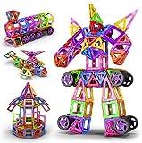 128 PCS Bloques de construcción magnéticos Ferris Wheel Toys Magnético Magnet Azulejos Regalo, Folleto de construcción Ideal & Development Niños Juegos Juguetes Regalo con caja portátil para niños Chi