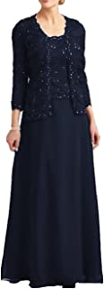 Lace Mother of The Bride Dresses with Jacket Beaded Long Chiffon Evening Gowns