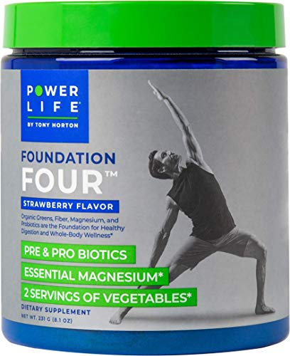 Tony Horton PowerLife® Foundation Four Pre & Pro Biotics, Essential Magnesium, 2 Servings of Vegetables, Strawberry Flavor 30 Servings