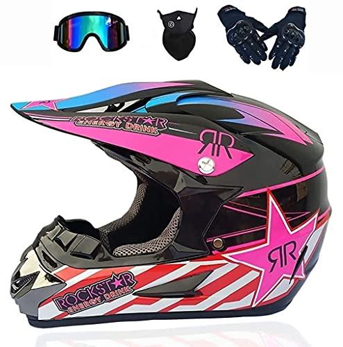 Casco de moto para niño o adulto, homologado y estampado, para moto, con guantes, gafas y máscaras (color Pink, talla XL)