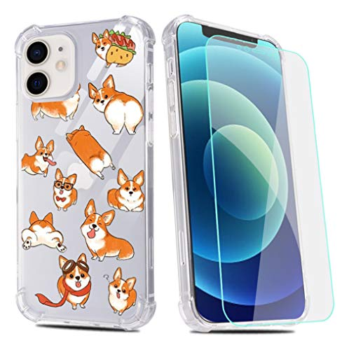 Funny Corgi Dog Phone Case for iPhone 11 with Screen Protector,Corgi Puppies Clear Pattern Soft & Flexible TPU Ultra-Thin Shockproof Transparent Bumper Case for iPhone 11 6.1' 2019-Corgi Dog