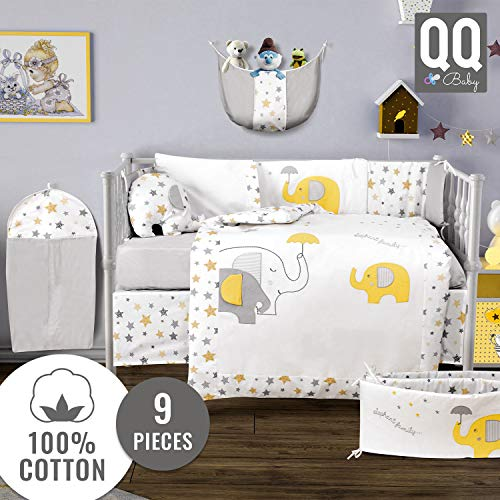 9 Piece Baby Crib Bedding Set - 100% Turkish Cotton - Nursery Crib Bedding Sets for Boys & Girls - Elephant Design - 4 Color Variations by QQ Baby