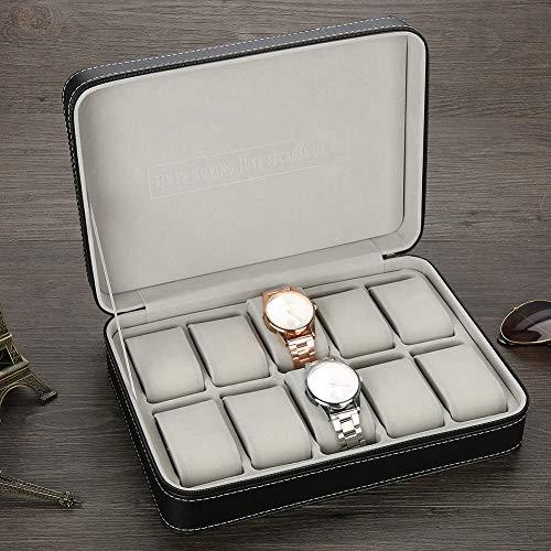 Caja de reloj, 28 x 20 x 7,5 cm 10 rejillas Caja de reloj Caja de reloj de viaje para guardar anillos de reloj, pendientes, pulsera, collar