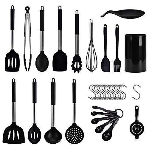 Wuudi Silikon Kochgeschirr Set, Küchengerät 30 Stück Küchenhelfer Set, Antihaft Hitzebeständiger Silikonspatel Set, Küchenutensilien mit Edelstahlgriff