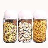 kitchen WDX Tanque de almacenamiento de granos de vidrio sellado latas miel leche en polvo almacenamiento de alimentos té Depósito de almacenamiento de té (tamaño: 900 ml x 3)
