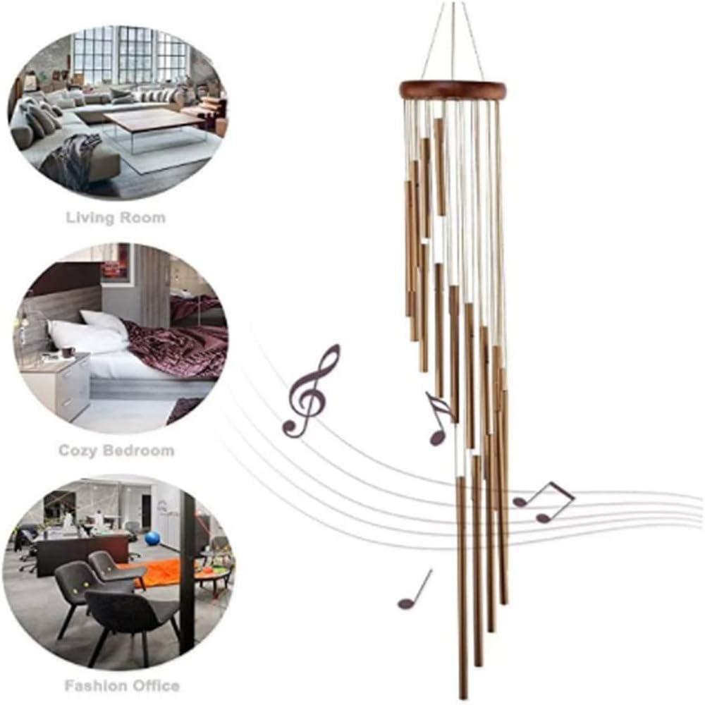 das beste Geschenk mit 6 Aluminiumrohren Dekoration f/ür den Au/ßenbereich Holz-Windspiel Terrassen beige Garten Gedenk-Windspiel Windspiel Canghai Outdoor-Windspiel
