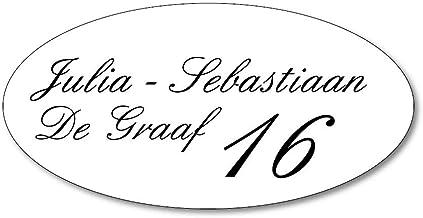 Naamplaatje wit ovaal t.b.v. brievenbus, 12x6 cm