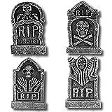 PREXTEX Paquete de 4 Adornos de Halloween de 43,2 cm lápidas Rip de Cementerio de Espuma Ligera Deco...