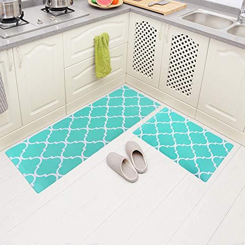 Carvapet 2 Pieces Comfort Anti-Fatigue Kitchen Standing Desk Mat Waterproof Decorative Ergonomic Floor Pad Kitchen Rug, Moroccan Trellis Aqua 18'x47'+18'x30'