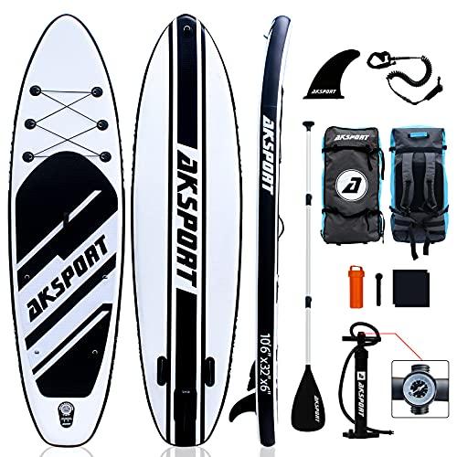AKSPORT Set tavola SUP, tavola gonfiabile Stand Up Paddle Board, 320 x 81 x 15 cm, 15 cm di spessore, tavola da paddel surf premium, accessori completi