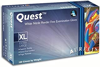 Aurelia Quest - White Nitrile Exam Gloves - Box - Size: Medium
