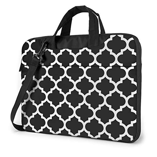 Portable Laptop Sleeve with Handle MacBook Tablet Carrying Case Covers Moroccan Quatrefoil Black and White Lattice Trellis Neoprene Waterproof Compatible Notebook Computer Bag with Shoulder Strap