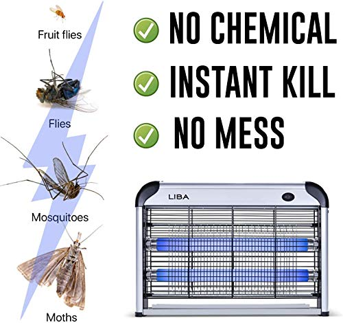 LiBa Bug Zapper Electric Indoor House Insect Killer Mosquito, Bug, Fly Killer Powerful 2800V Grid - Two Extra Replacement Bulbs