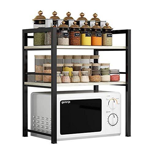 Inicio Equipo Microondas Baker's Baker's Rack, acero inoxidable negro, soporte para microondas de 3 niveles, estante de almacenamiento de madera con organizador de especias (Color: Dark Walnut