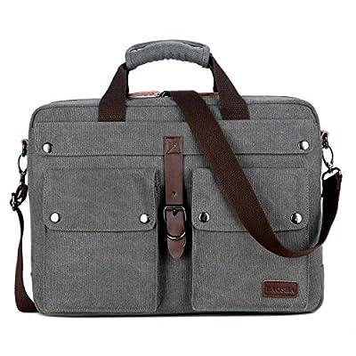 BAOSHA BC-07 Sacoche Ordinateur Portable 17 pouces Homme Vintage Sac Bandoulière en Toile pour Travail et Scolaire