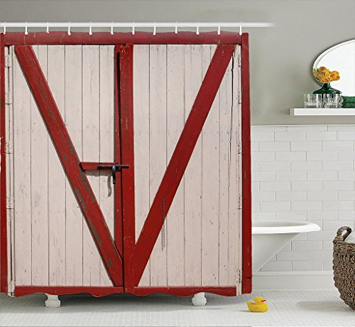 AI XIN SHOP Badezimmer- 3D Hölzerne Tür Premium Wasserdichte Mehltau-widerstandsfähige Anti-Bakterien-Polyester-Bad-Duschvorhänge, Haken enthalten (größe : 1.8 * 1.8m)