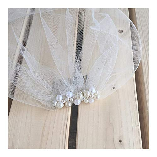Handgemachte billige Birdcage Schleier Perlen Brautschleier mit Kamm Kurze Braut Birdcage Schleier Hochzeit Schleier (Color : Ivory)