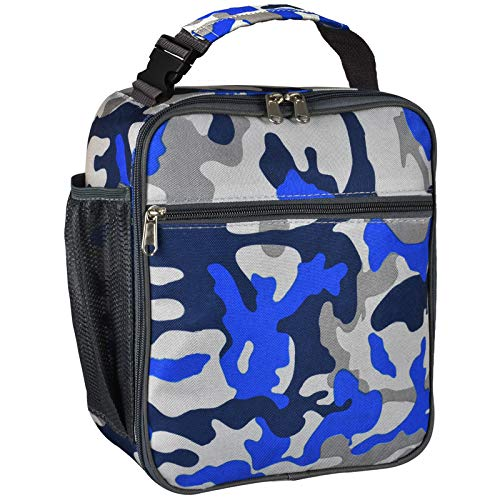Insulated Lunch Bag, Leakproof Portable Lunch Box for Women Men Boys Girls, Large Capacity Cooler Bag with Handle and Bottle Pocket for Office School Camping Hiking Outdoor Beach Picnic (Camo Blue)