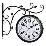 MJJ @Reloj de Pared Reloj de Pared de Doble Cara Interior de época en Soporte Estación de Tren de Hierro Forjado Diseño Estilo Relojes Redondos Lado de la Pared Decoración de Sala de Estar Creativa