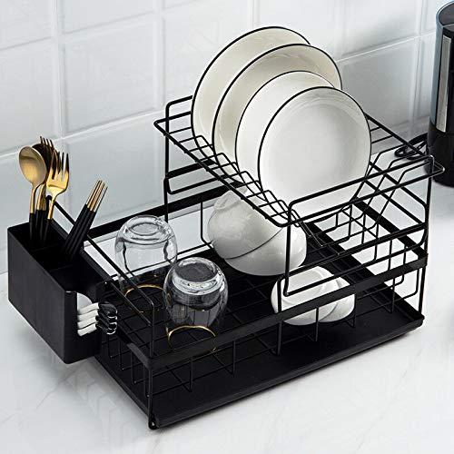 FEIYI Organizador de almacenamiento multifunción para muebles de cocina, escurreplatos escurridor, soporte de hierro para fregadero, bandeja para platos, tazas, cuencos, vajilla (color: negro)