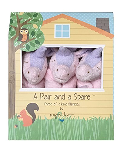 Angel Dear a Pair and a Spare 3 Pcs Blankets Gift Box, Pink Unicorn