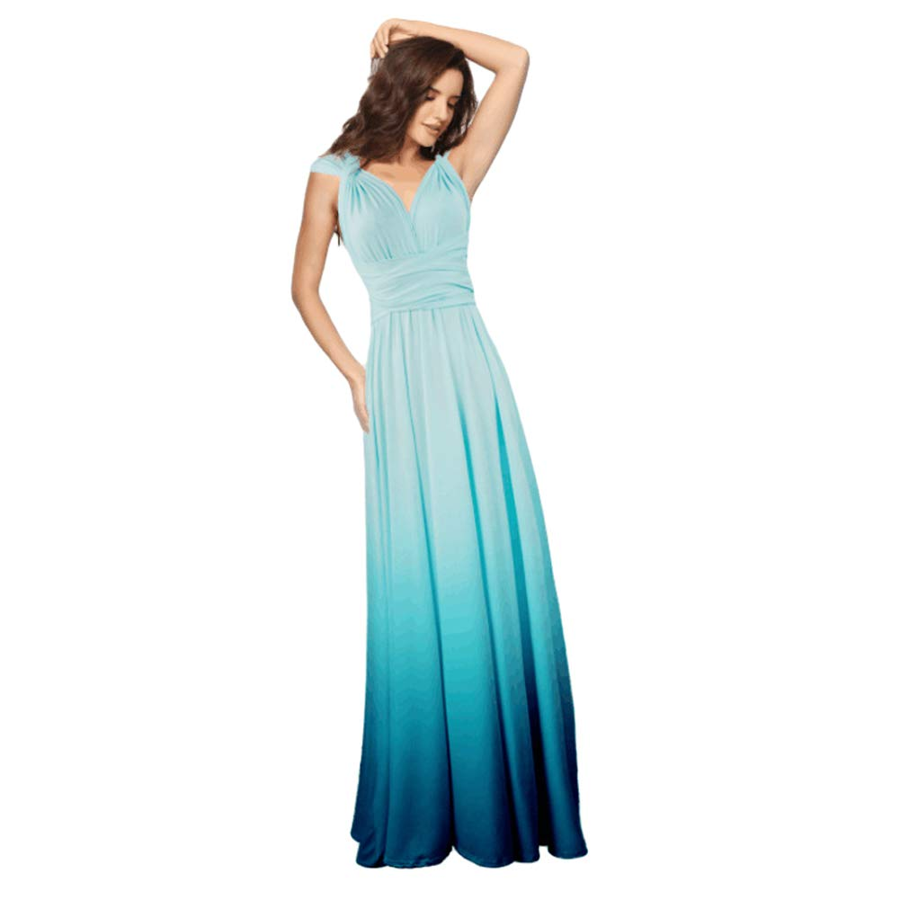 Available at Amazon: Women Evening Long Maxi Gradient Ombre Dress Convertible Transformer Wedding Party Cocktail Homecoming Gown