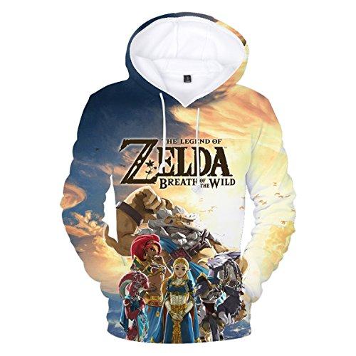 CTOOO Damen Herren Zelda Hoodie Sweatshirt Breath of The Wild 3D Druck Kapuzenpullover Rundhals Pullover