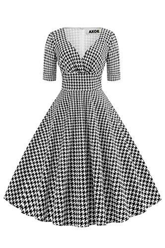 AXOE Damen 60er Jahre Hahnentritt Kleid Cocktailkleid Abendkleid mit 3/4 Ärmel Übergröße 44, 2XL