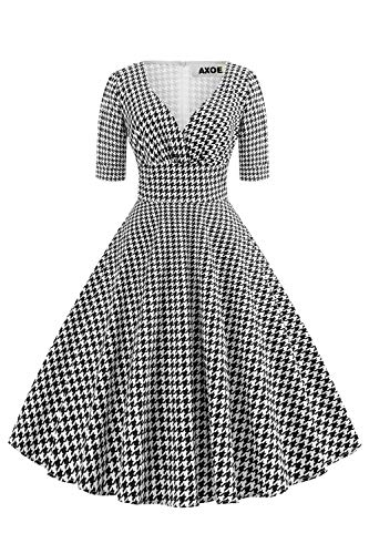 Axoe Damen 60er Jahre Hahnentritt Kleid Cocktailkleid Abendkleid mit 3/4 Ärmel Übergröße 44