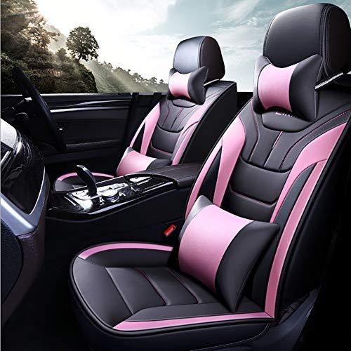 DIELIAN Auto Sitzbezüge-5 Sitz Auto-Zubehör Innenraum Wasserdicht Universal Schwarz + Grau, Blau, Rosa, Rot,Pink